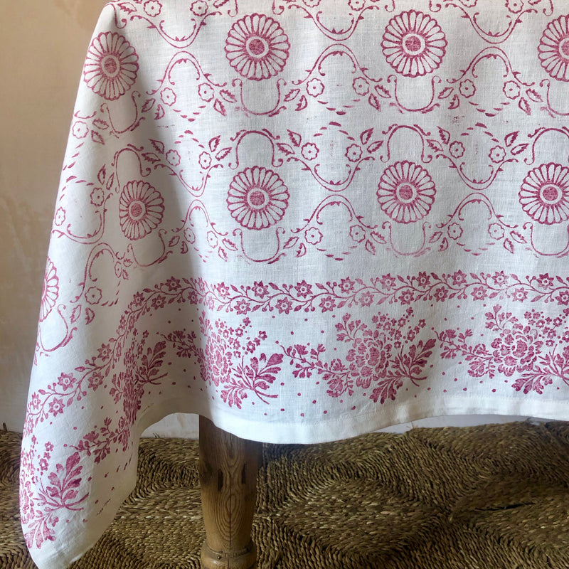 Hand Printed Table Cloth (Raspberry on White)