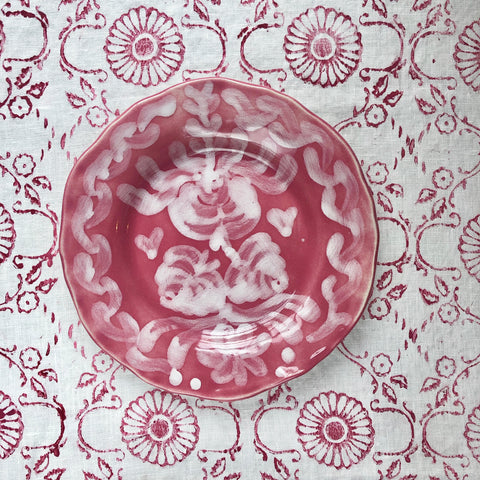 Hand Painted Ceramic Dessert Plates, Pair