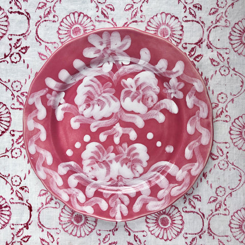 Hand Painted Ceramic Dinner Plate, Pair