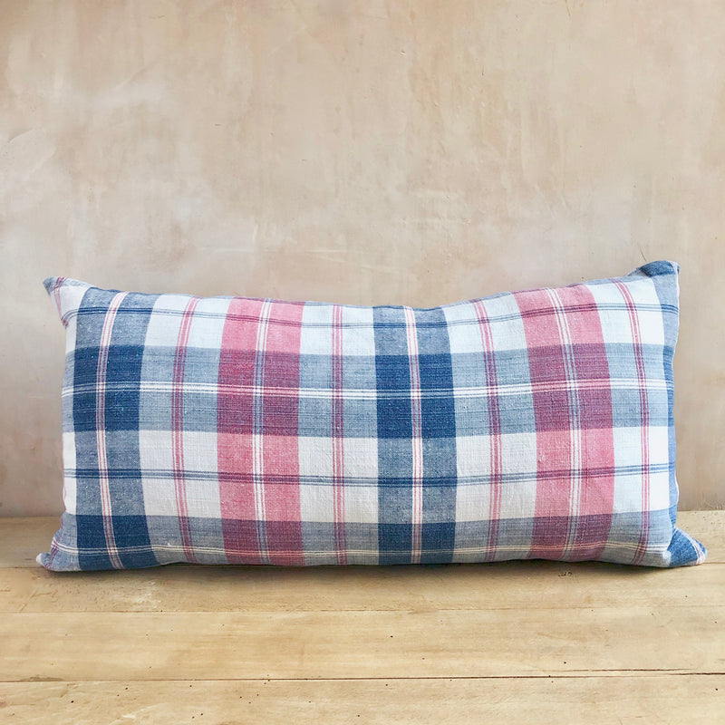 19th Century French indigo and red checked linen cushion