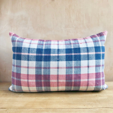 Pair of 19th Century French indigo and red checked linen cushions