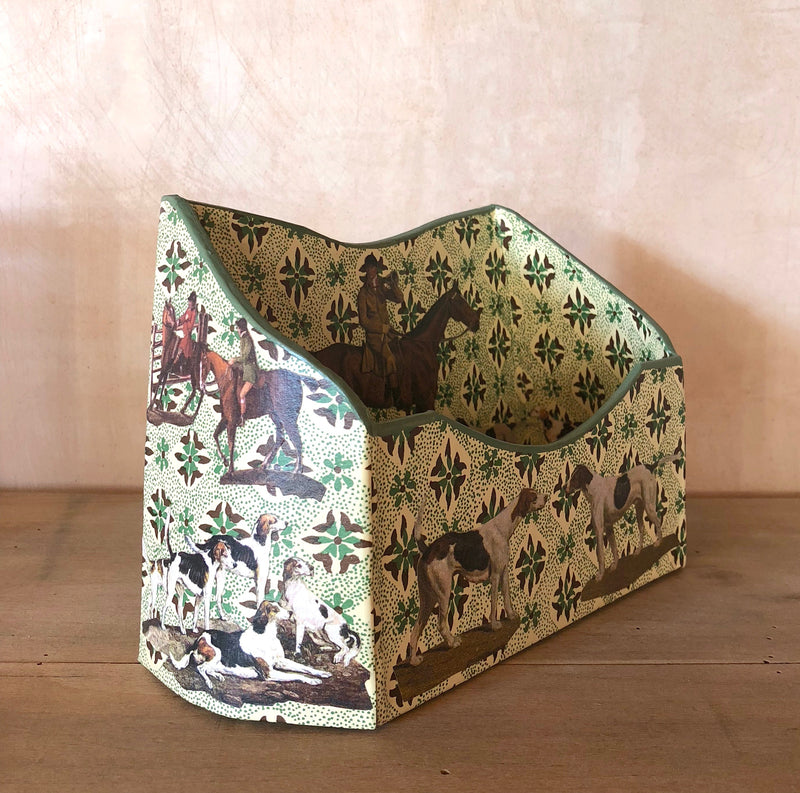 "Baroque Letter Holder, ""Floral Horse and Hounds"" (Green Graphic)"
