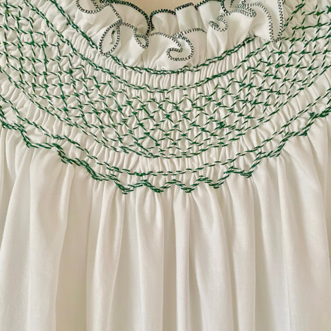 Hand-Smocked Nightgown, Long Sleeve (Off White with Green Stitching)