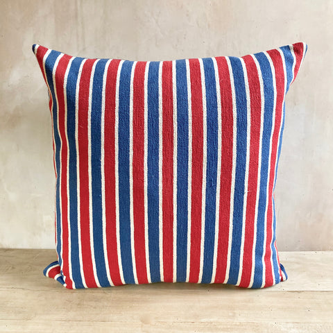 c.1950s French Cotton Striped Cushion