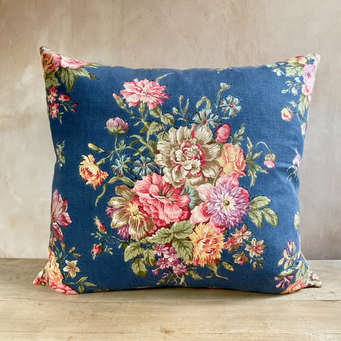 c.1940s French Cotton Floral Cushions, Pair