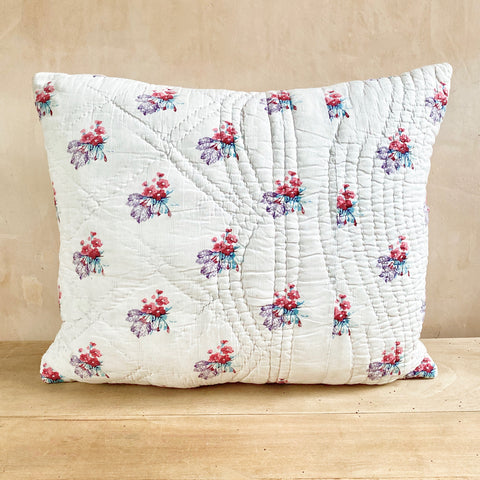 19th Century French block-printed quilted cushion