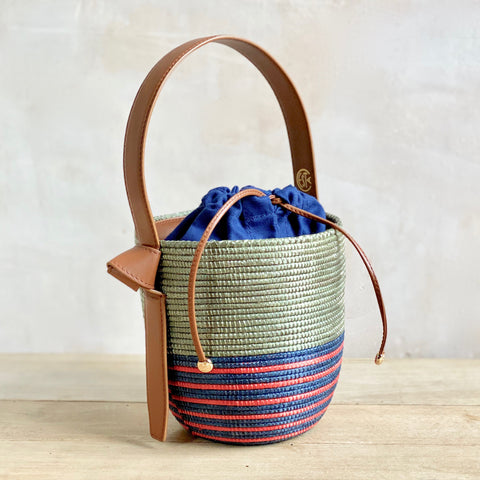 Sisal and Leather Basket Bag