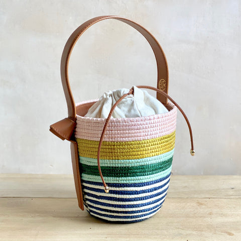 Striped Basket Bag, Pink and Mint