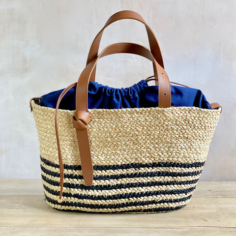 Sisal and Leather Tote Bag