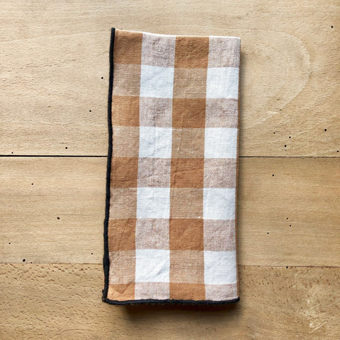 Checkerboard Napkin, Linen & Cotton (Terracota)