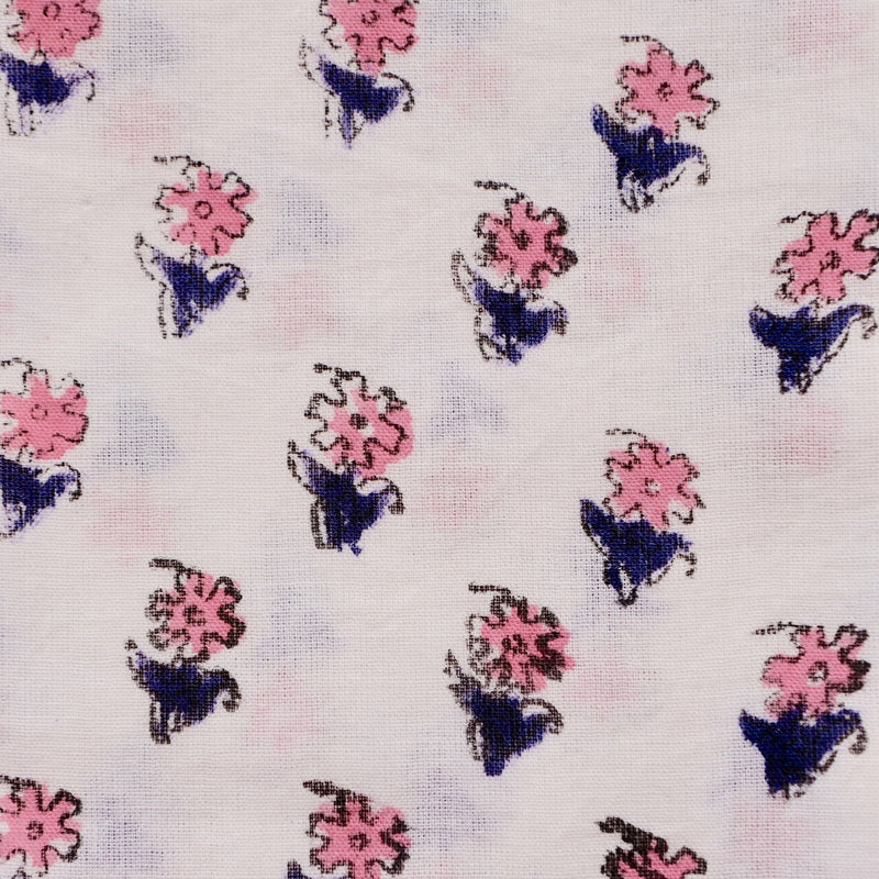 Handblock Quilted Placemats, Small Pink Flower, Navy Leaf, Pair