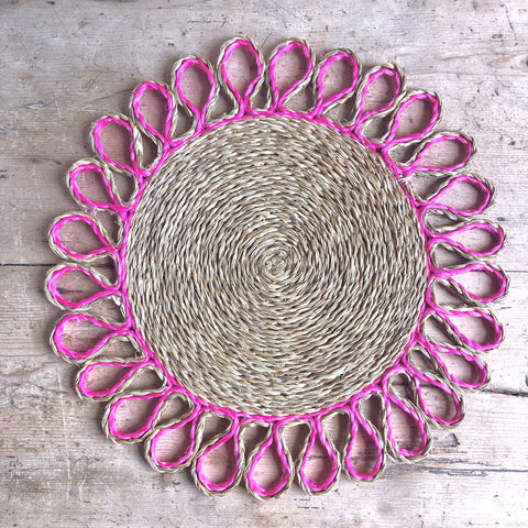 Looped Sisal Placemats (Bright Pink)