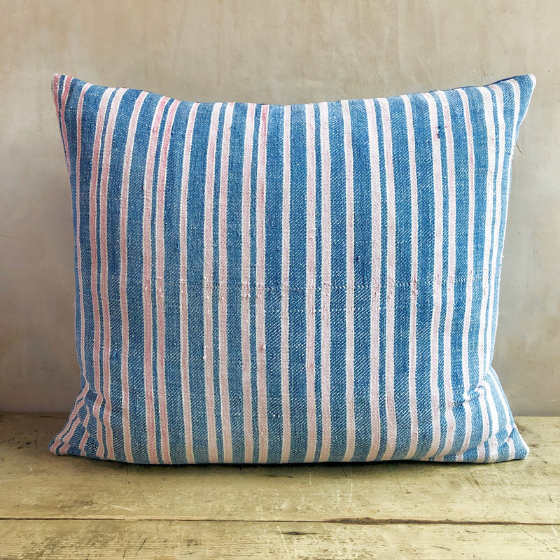 Mid 19thC Pink and Blue Woven French Cushion