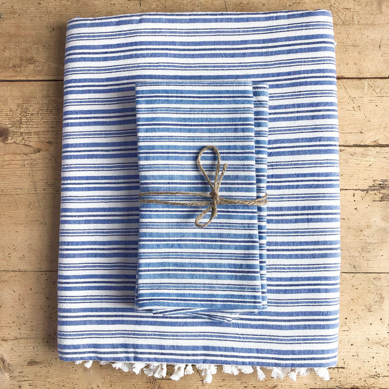 Woven Tablecloth, Linen, Chambray