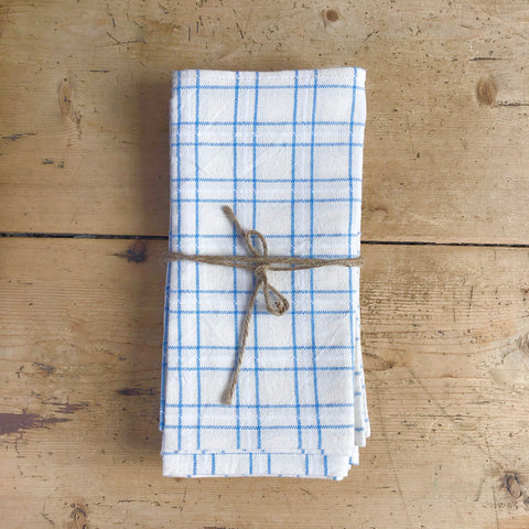 Woven Napkin, Open Plaid, Denim, Set of 4