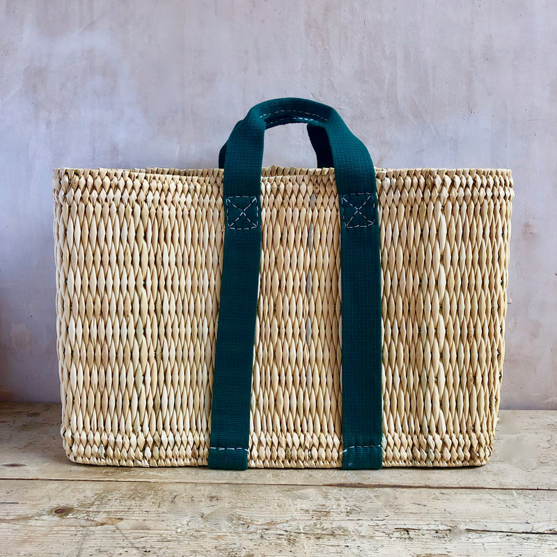 Tote Basket, Straw (Green)