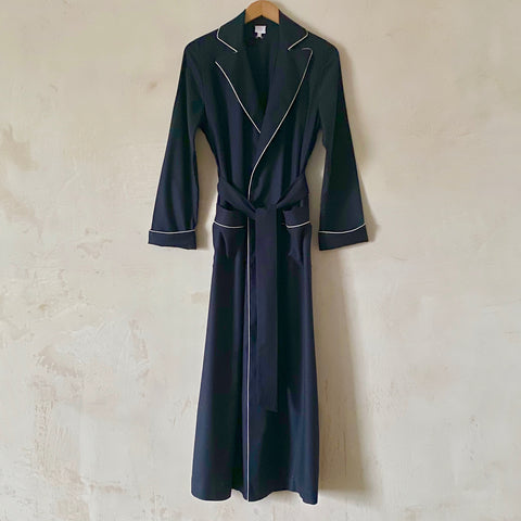 """Boyfriend"" Flannel Robe (Navy with Cream Piping)"