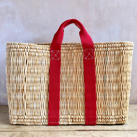 Tote Basket, Straw (Red)
