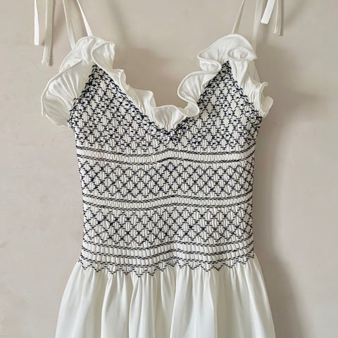 Hand-Smocked, Ruffled Cotton Nightgown (White and Navy)