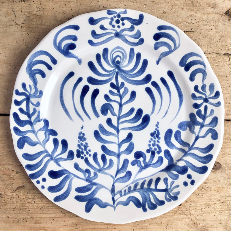 Wildflowers Hand Painted Dinner Plate, Ceramic (Blue & White)