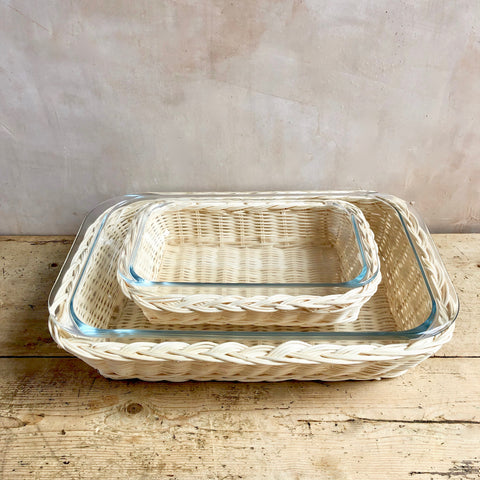 Braided Rattan Casserole Dish, Blonde (Rectangle)
