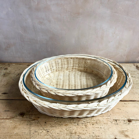 Braided Rattan Casserole Dish, Blonde (Oval)