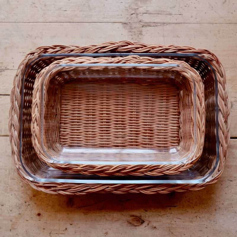 Braided Rattan Casserole Dish (Rectangle, Large)