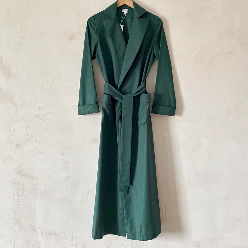 """Boyfriend"" Flannel Robe (Green with Navy Piping)"