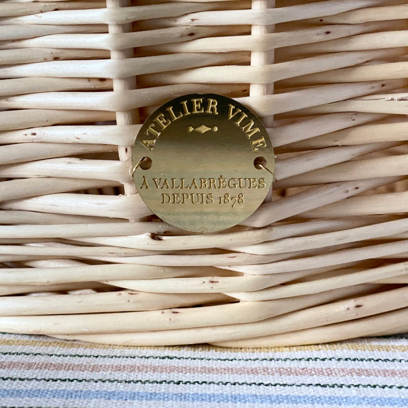 """Fully Braided"" Wicker Basket, Natural Leather Handle"
