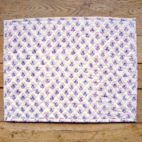 Handblock Quilted Placemats, Small Lavender Flowers, Pair