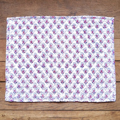 Handblock Quilted Placemats, Small Pink Flowers, Pair