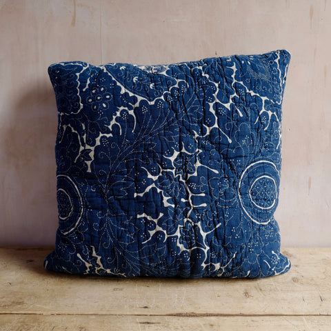 Pair of Cushions, French Indigo Block Print, Early 19th Century