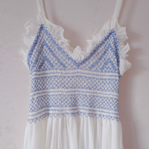 Hand-Smocked, Ruffled Silk Nightgown
