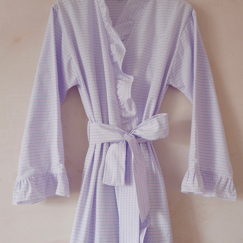 Checked Cotton Robe with Ruffle Edge