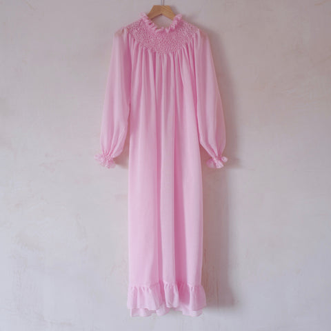 Hand-Smocked, Long Sleeve Cotton Nightgown