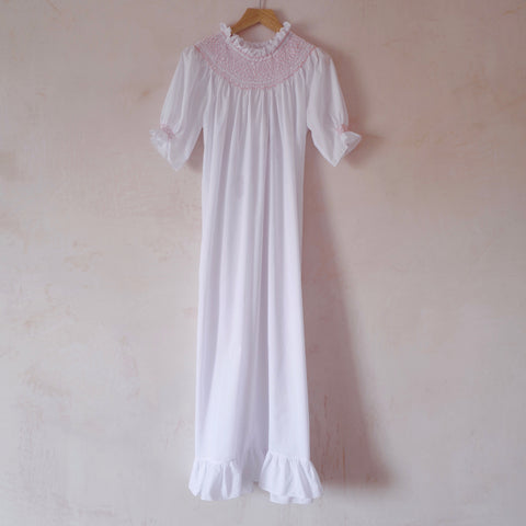 Hand-Smocked, Short Sleeve Cotton Nightgown