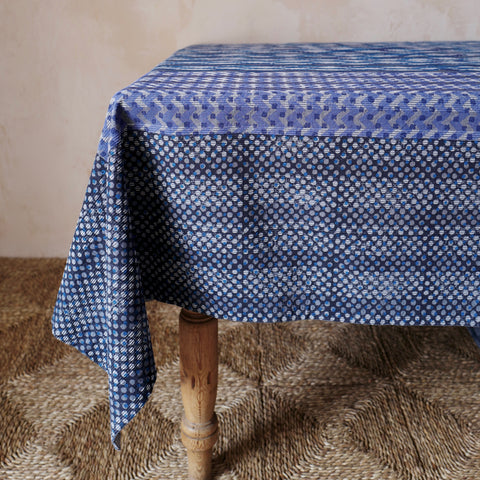 Block-printed Ikat Tablecloth (Indigo/Cobalt)