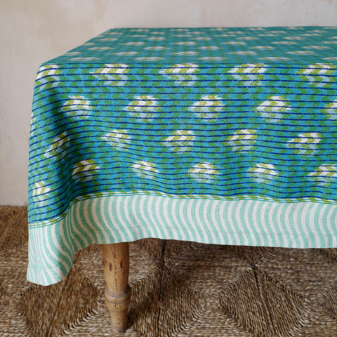 Reverse Block-Printed Ikat Tablecloth (Turquoise/Lime)