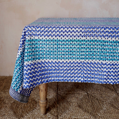 Reverse Block-printed Zig Zag Tablecloth (Cornflower/Mint)