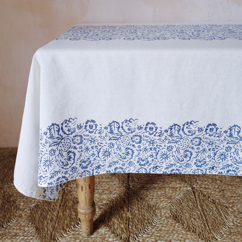Fleure Sauvage Linen Tablecloth (White)