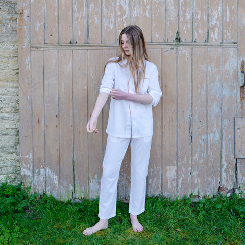 Piped Pyjamas (White with Brick Piping)