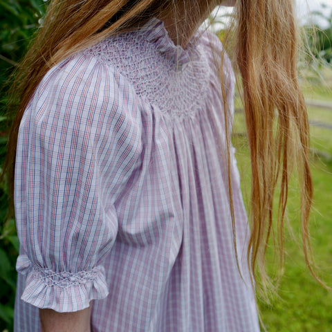 Hand-Smocked, Cotton Short Sleeve Nightgown