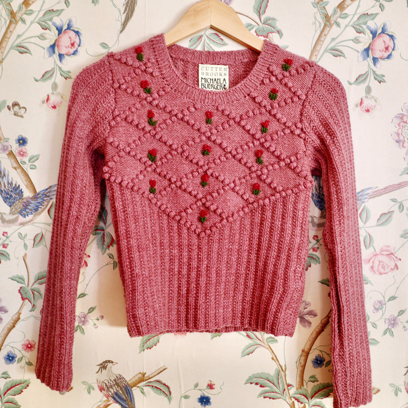 Hand-knit Filomena Pullover, Rose Pink