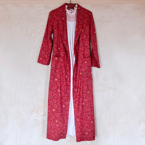 Peter Pan Flannel Robe, Red Floral
