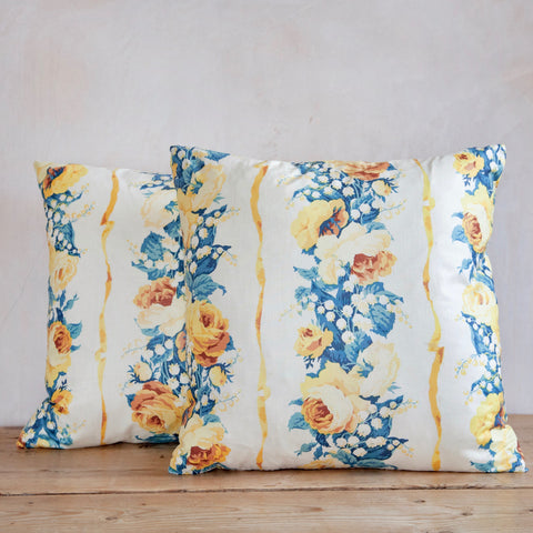 Pair of Cushions made from Vintage Glazed Chintz