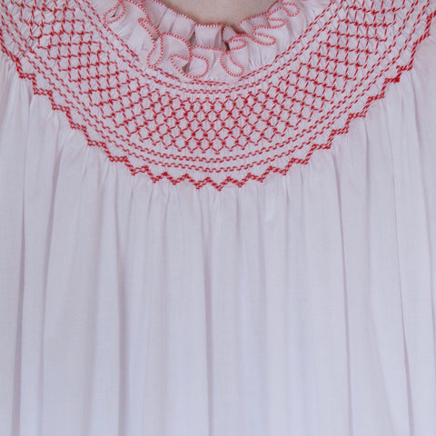 Hand-Smocked Cotton Long Sleeve Nightgown