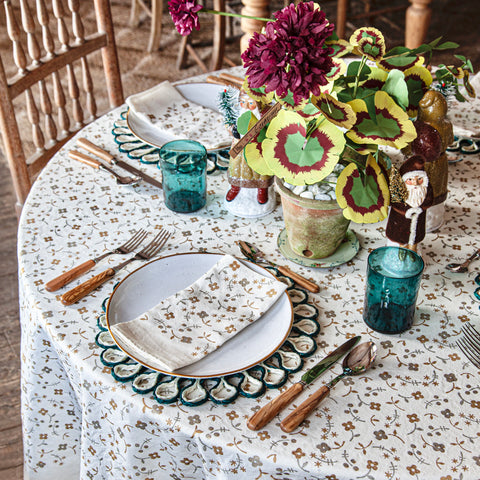 Ditsy Floral Gold/Silver Linen Tablecloth