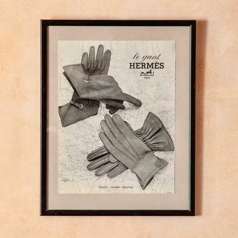 Framed Vintage Hermes Ad, Gloves, c.1940