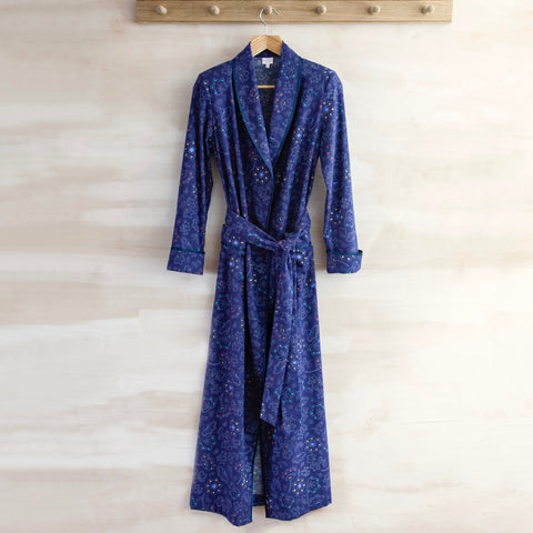 Brushed Cotton Robe (Blue with Multi Flowers)