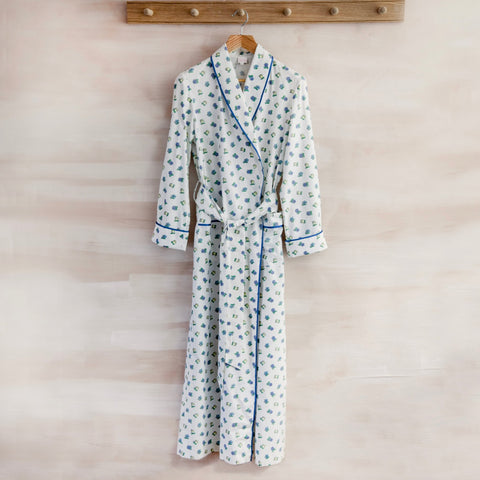 Cotton Robe (White with Blue/Yellow/Green Flowers)